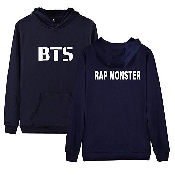 BTS Primavera y Otoño Unisex Cálido Sudaderas con Capucha Hombres Moda Impresión Pulóver Hoodie Suéter Blusa