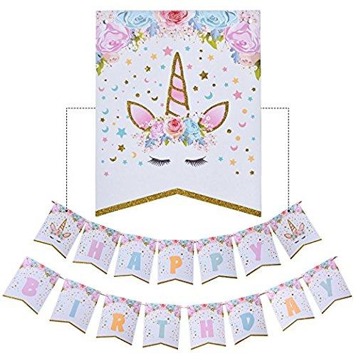 Cha Long 1 Pack of Rainbow Unicorn Happy Birthday Banner, Fantasy Fairy Girls Birthday Unicorn Party Decorations Supplies ()