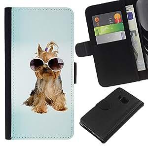 EJOY---La carpeta del tirón la caja de cuero de alta calidad de la PU Caso protector / HTC One M9 / --Yorkshire Terrier perro de perrito de las gafas de sol