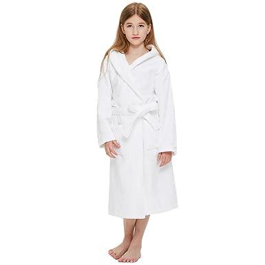 b8cd3b8b4d Boys Girls Solid Hooded Cotton Sleep Robe Bathrobe (2 Toddler-14 Years)  Variety