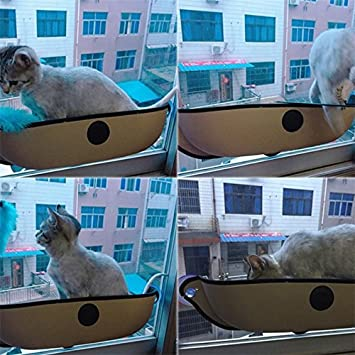 Zehui Eazy Mount Cat Window Bed with Soft Mat Kitt Hammock Strong Suction Cups Comfortable Warm Nest for Pets Khaki