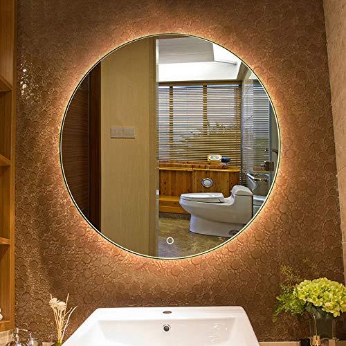 Bathroom Mirror Led Illuminated Round Lighted Vanity Makeup Wall Mounted Lights Cosmetic -