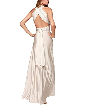 Robe Longue Femme Elégante sans Manche Dos Nu Robe de Soirée Robe de  Cocktail Beige S 14cba8b3139