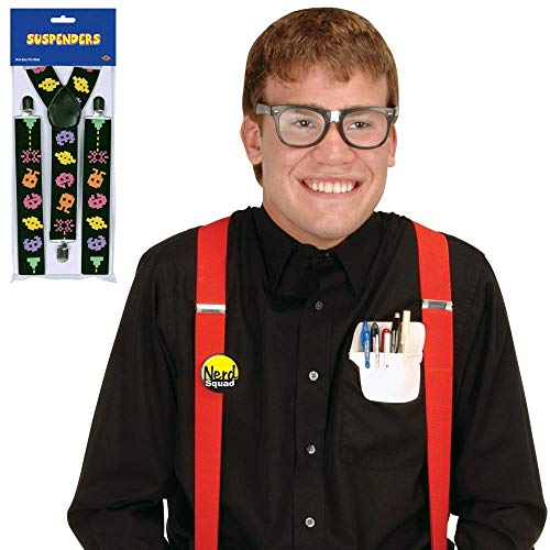 80's Eighties Nerd Kit Costume with Arcade Suspenders | Includes Taped Eyeglasses, Pocket Protector, Button, and Suspenders -