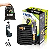 RELTEX 50 ft Garden Hose -NEW 2018 Expandable Water Hose Nozzle -Double LATEX Core,3/4 Brass Connector,8 Pattern Spray Sprinkler,Storage Bag,Hanger- Flexible Compact Lightweight Expanding Hose Kit