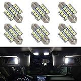 Automotive Parts Accessories Best Deals - Partsam 6pcs White LED 12 SMD Interior Dome Map Lights Car Accessories Lamps 31mm Festoon DE3175
