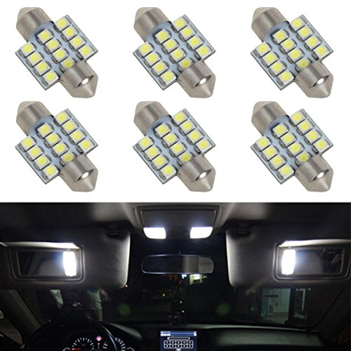 Partsam 6pcs White LED 12 SMD Interior Dome Map Lights Car Accessories Lamps 31mm Festoon DE3175 (Honda Crv Accessories 2001 compare prices)