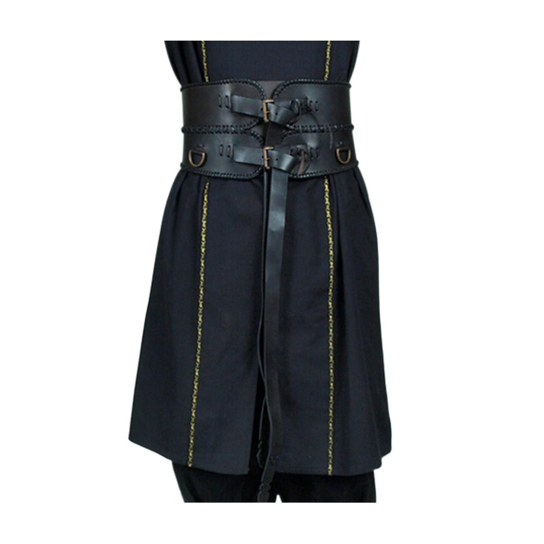 Deluxe Adult Costumes - Men's Medieval Renaissance black leather broad belt by Armor Venue