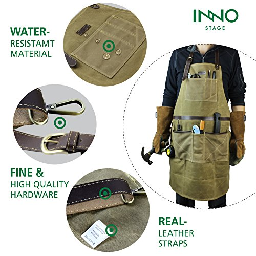 INNO STAGE Tools Apron,Waxed Canvas Work Bib Aprons with Pockets,Full Coverage Utility Apron,Hand Tool Organizers,Gardening Carpentry Lawn Care Accessories for Women and Men by INNO STAGE (Image #4)