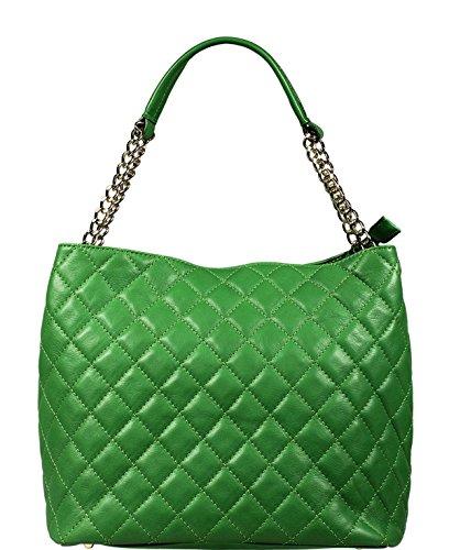 9eb71ec42cda3 Schöne praktische Leder Grüne Handtasche aus Leder Emma Verde über die  Schulter