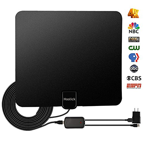 Digital TV Antenna, Hoolick HDTV Antennas Indoor 1080P 50 Miles Range with Anti-interference Detachable Amplifier Signal Booster for Smart TV, 13.3ft Coax (Digital Visual Receiver)