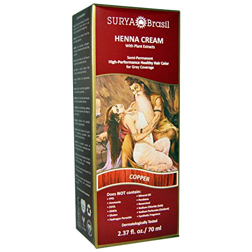 Surya Henna, Henna Cream, Hair Color, Copper, 2.37 fl oz (70 ml) - 3PC by