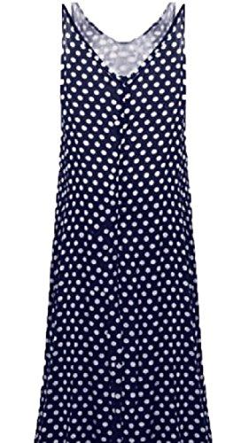 Strap Polka Spaghetti Dresses Print Blue Dot Maxi Dark Women Boho Long Stylish Jaycargogo X5qAYxTpwv