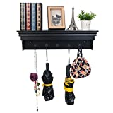WOLTU Hanging Entryway Shelf with 5 Metal Hooks,23.62