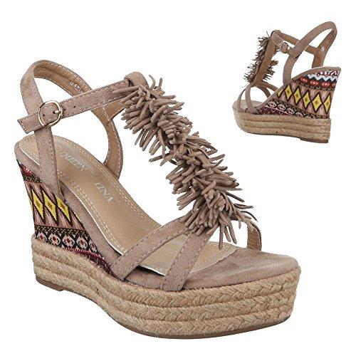 Ital-Design Damen Schuhe, B130L-SP, Sandaletten Fransen Keil Wedges Pumps Beige