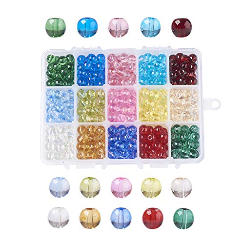 (Pandahall 1Box/ 450~525pcs 15 Color 8.5~9mm Baking Painted Glass Beads Transparent Glass Round Beads Hole: 1.5mm for DIY Necklaces Bracelets Handmade Crafts )