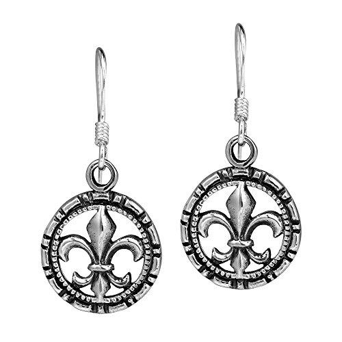 Fleur-de-Lis in Detailed Circle .925 Sterling Silver Dangle Earrings