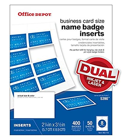 Amazon com : Office Depot Badge Inserts, 2 1/4in  x 3 1/2in