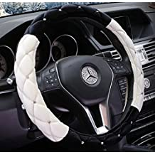 """Black and White Winter Short Plush Car Steering Wheel Cover Crystal Rhinestone Auto Fur Steering-Wheel Covers Cases Universal Size 15"""""""