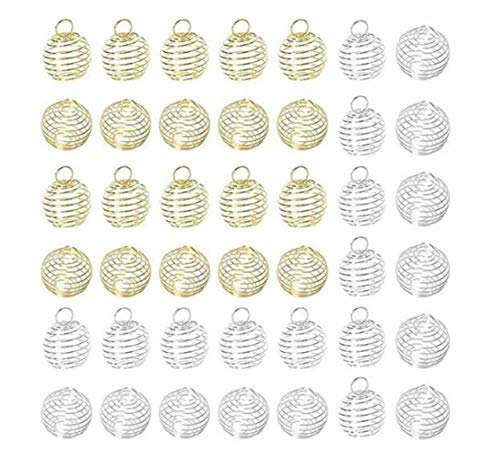 - FANKUTOYS 40 Pcs Silver Plated Spiral Bead Cages Pendants for Jewelry Making,Size 25mm,30mm Color Silver,Gold