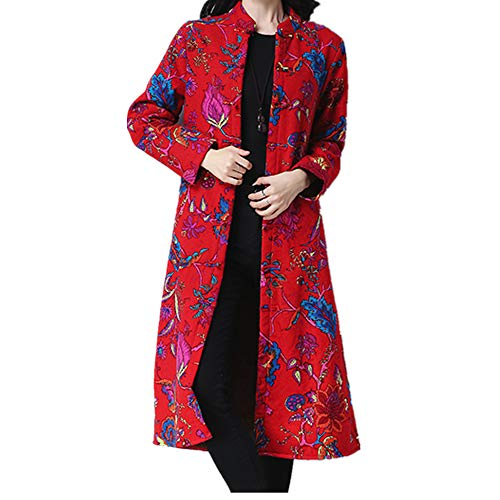 JOFOW Womens Shirt Jacket Long Coats Plus Size Flowers Painting Print Ethnic Vintage Fleece Lined Warm Loose Cardigans (XL =US:4-10,Red)
