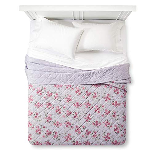 Simply Shabby Chic Purple Lavender Berry Rose Floral Linen Cotton Blend Quilt, King