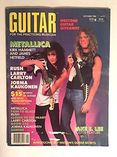 1986 Vintage James Hetfield & Kirk Hammet Guitar Magazine with Fade to Black Tab : 6 Page Metallica Interview & Pictures : October 1986