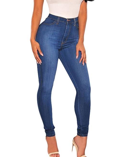 ultima vendita enorme inventario rapporto qualità-prezzo ZongSen Donna Jeans Skinny Vita Alta Blu Elastici Jeggings Pantaloni  Stretti Ghette Retro Pantalone