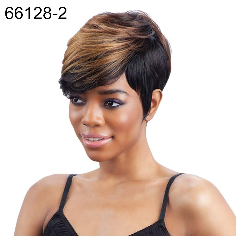 Wigs gLoaSublim, Oblique Bangs Short Curly Hair Wig Women Charming Daily Party Cosplay Hairpiece - 66128-4-Wine Red+Black