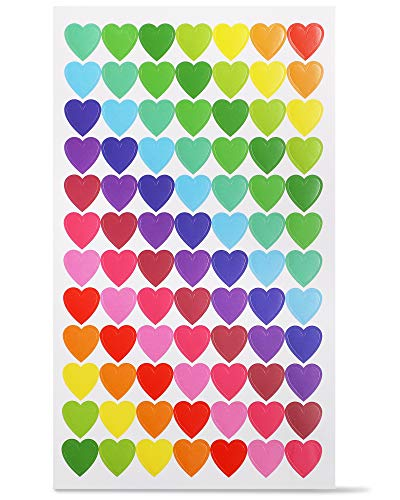 Paper Junkie 3024-Count Mini Colorful Heart Stickers, 36 Sheets for Kids, Valentine's Day, and Classroom Rewards, 0.59 Inches