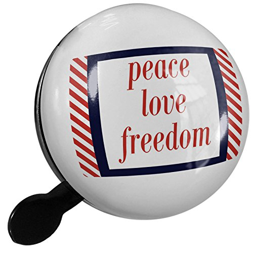 Small Bike Bell Peace Love Freedom Fourth of July Red Stripes - NEONBLOND by NEONBLOND