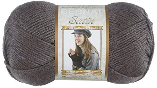 Bernat Satin Solid Yarn (4) Medium Worsted Gauge 100% Acrylic - 3.5oz - Grey Mist    -  Machine Wash & Dry (Yarn Acrylic Satin)