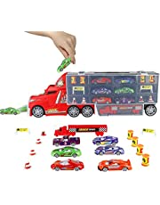 PL Coches Juguetes Camión Transportador para Niños 3 4 5 Años Juguete Transporte Playset 6 Mini Vehículo de Metal Niños y Niñas