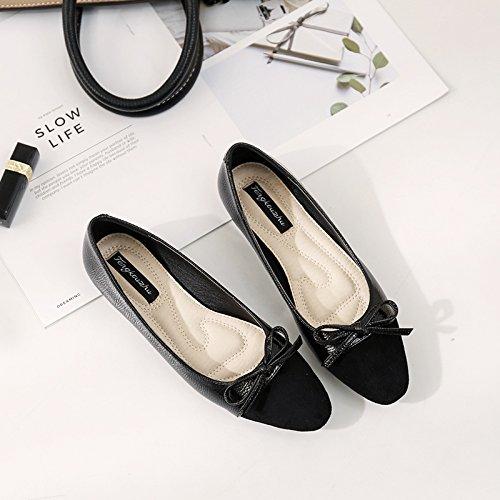 Xue Qiqi Pajarita con Baja Solo Zapatos Femeninos de Zapato Plano de Cabeza Redonda Que los Zapatos Planos con Barco 4 Zapatos Zapatos Zapatos de Mujer Negro