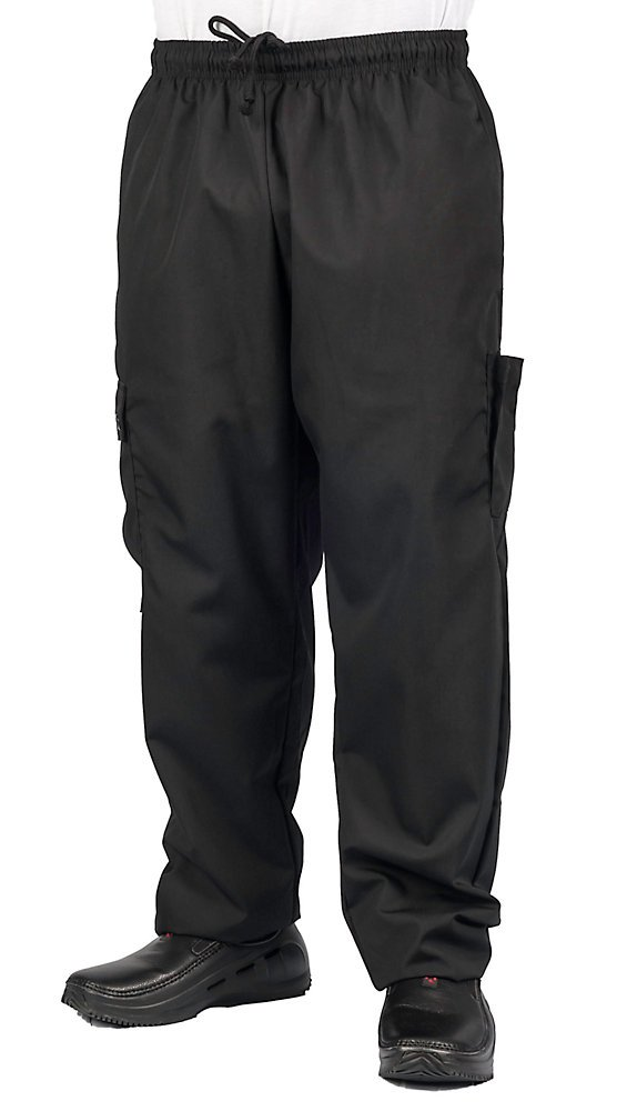 Black Cargo Style Chef Pant, L by KNG