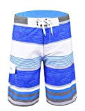 Unitop Men's Quick Dry classical Colorful Striped Print Surfing Beach Board Shorts Sky blue-34