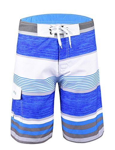 Unitop Men's Quick Dry classical Colorful Striped Print Surfing Beach Board Shorts Sky - Men Wear Suit
