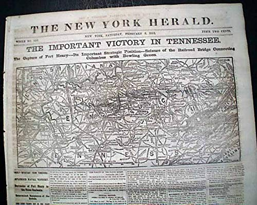 BATTLE OF FORT HENRY Tennessee River Civil War MAP Grant Victory 1862 Newspaper NEW YORK HERALD, Feb. 8, 1862 ()