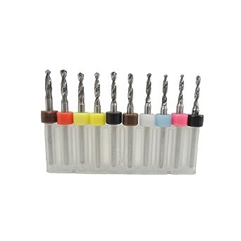 10Pcs 2.1mm-3.0mm PCB Print Circuit Board Carbide Mini Micro Drill Bits CNC Set