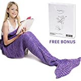Mermaid Tail Blanket, Amyhomie Mermaid Blanket Adult Mermaid Tail Blanket, Crotchet Kids Mermaid Tail Blanket for Girls