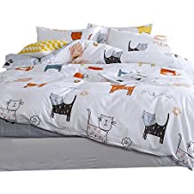 OROA Cartoon Cat Full Queen Duvet Cover Sets for Kids White Grey 100% Cotton Reversible 3 Pieces Kids Girls Boys Bedding Sets Duvet Cover with Pillowcases Child Bedding Sets