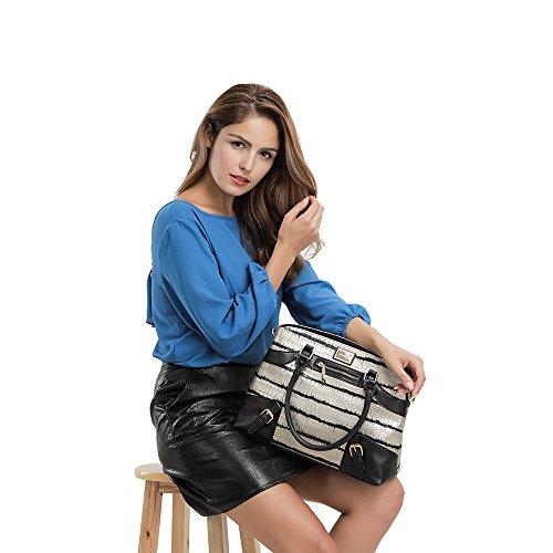 YsinoBear Frauen Handtaschen Damen Mode Schultertaschen Tote Schulter Kollegen Tasche mit schwarzem Streifen