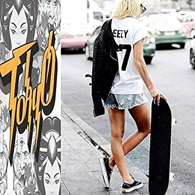 Classic Concave Skateboard Tokyo Vector Handwritten Lettering with Hand Drawn Illustration of Longboard Maple Deck Extreme Sports and Outdoors Double Kick Trick for Beginners and Professionals : Sports & Outdoors