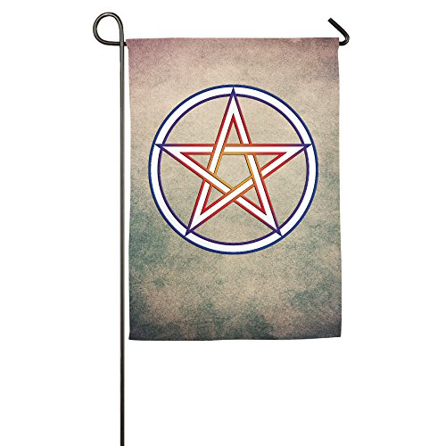 Personalized Decorative Welcome Polyester Garden Flags Printed WICCA Pentacle Emblem Flag For Indoor/Outdoor With Two Size - 12 18 Or 18 27 Inch (Confederate Rebel Flag Belt Buckle)