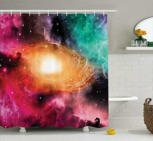 Ambesonne Zodiac Shower Curtain, Colorful Astronomy Pictures of a Spiral Galaxy Stars Stardust and Cosmos, Cloth Fabric Bathroom Decor Set with Hooks, 75