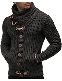 Mens Sweaters Casual Turtleneck Cable Knit Button Down Cardigans Coat