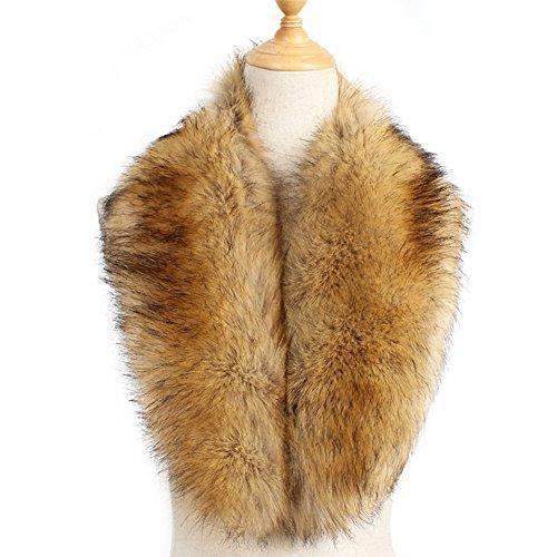20's Flapper Coat - Yetagoo Faux Fur Collar Women's Neck Warmer Scarf Wrap Gatsby Scarf 1920s Shawl Accessories (Tan)