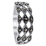 Gem Avenue 925 Sterling Silver Top Diamond-Cut Marcasite Ring