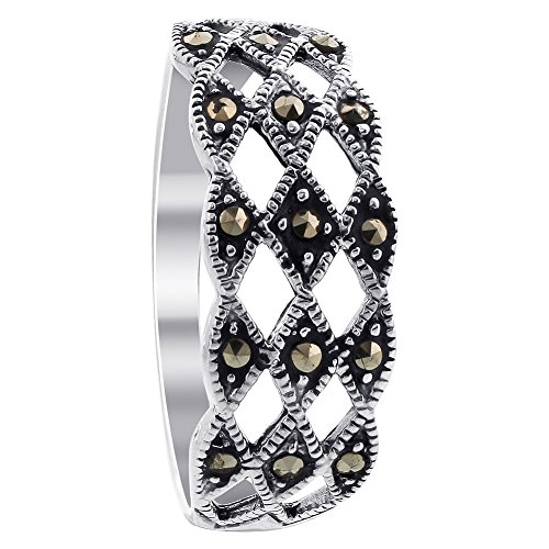 Gem Avenue 925 Sterling Silver Top Diamond-Cut Marcasite - Marcasite Ring Silver