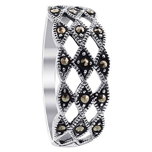 Gem Avenue 925 Sterling Silver Top Diamond-Cut Marcasite - Silver Marcasite Ring